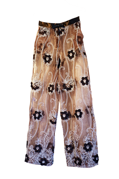 Brown Flower High Waist Tulle Palazzo Pant