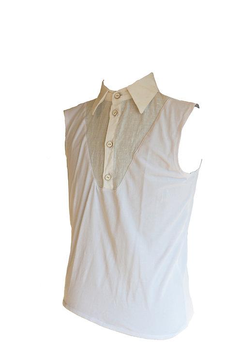 White Cotton and Linen Sleeveless T-Shirt