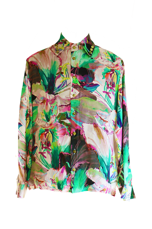 Silk Floral Long Sleeve Shirt