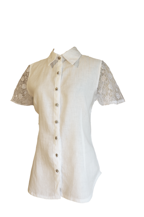 Cuban Guayabera Crafted in Linen and Lace with a Revealing Back Side