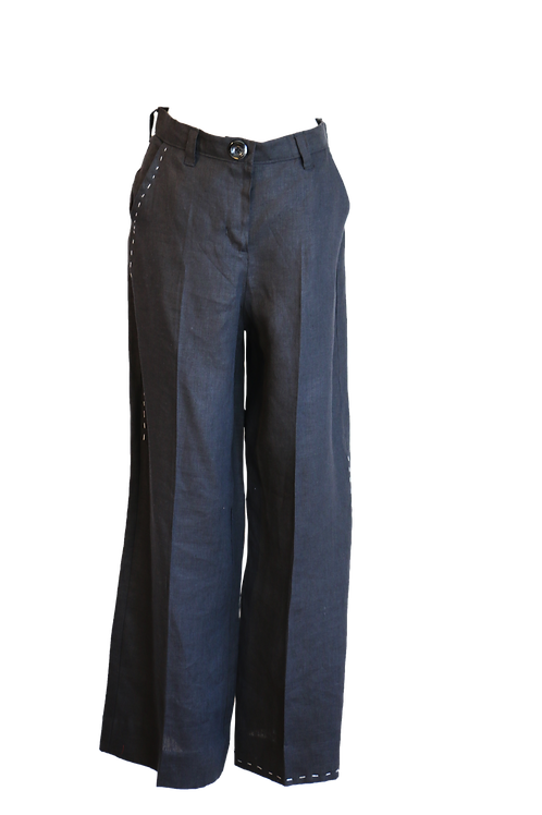 Black High Waist Linen Palazzo Pant with White Threads Artwork