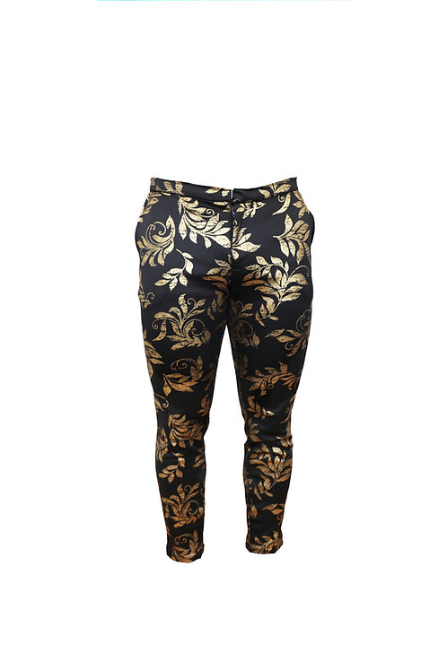 Golden Leaves Print Slim Fit Pants