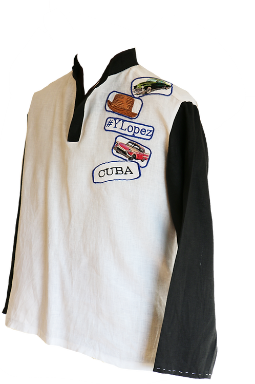 Black and White Linen Shirt with Embroidery