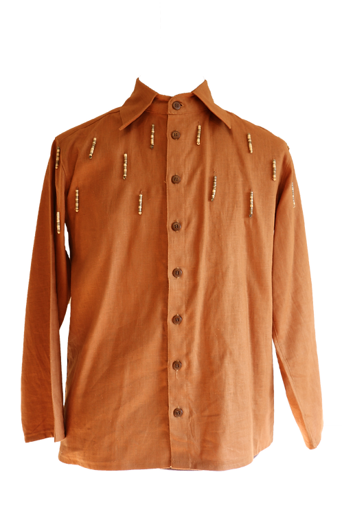 Brown Linen Shirt with Wooden Art