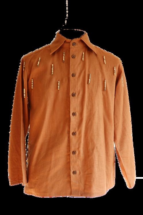 Brown Linen Shirt with Wooden Art