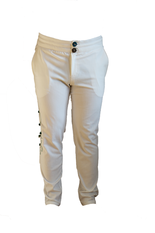 Casual High Waist White Pants with Embroidery Art