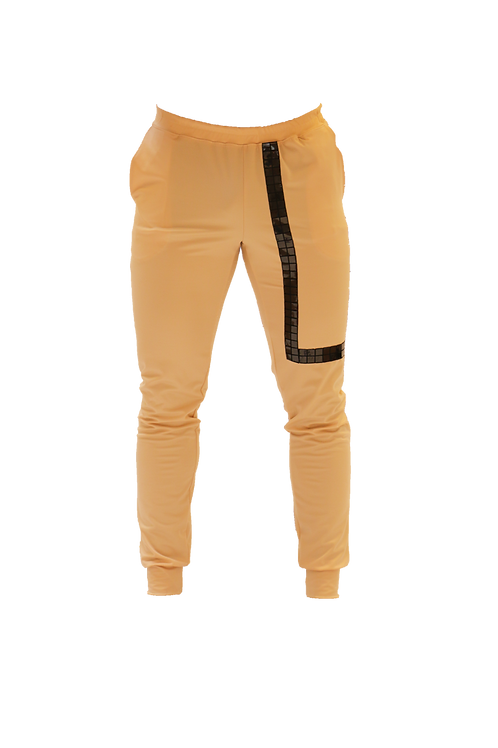 Skin Color Sports Pants with Black Band