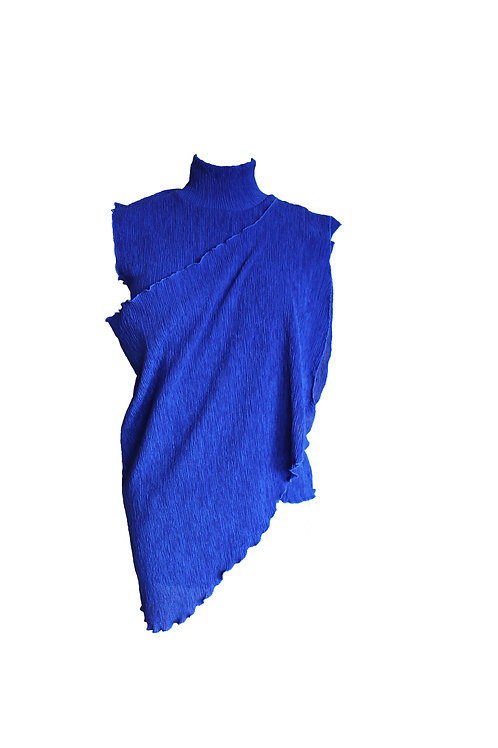 Royal Blue Pleated Top