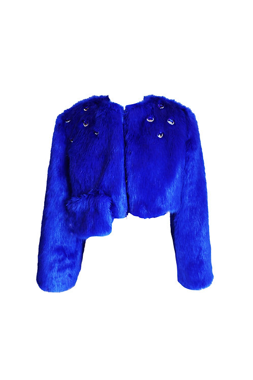 Royal Blue Short Faux Fur Jacket with Crystals