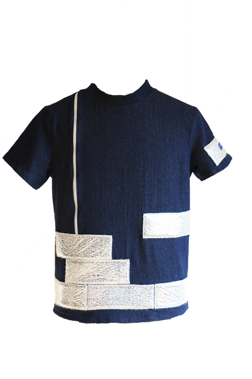 Denim and Silver Short arms T-Shirt