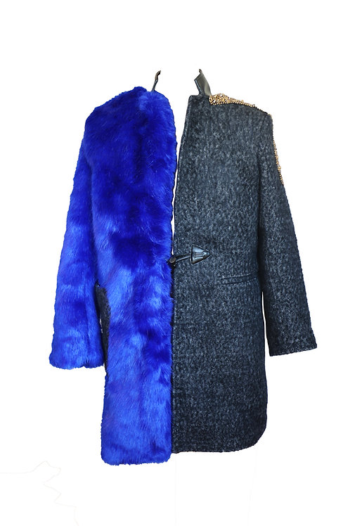 Faux Fur and Wool Asymetrical Coat