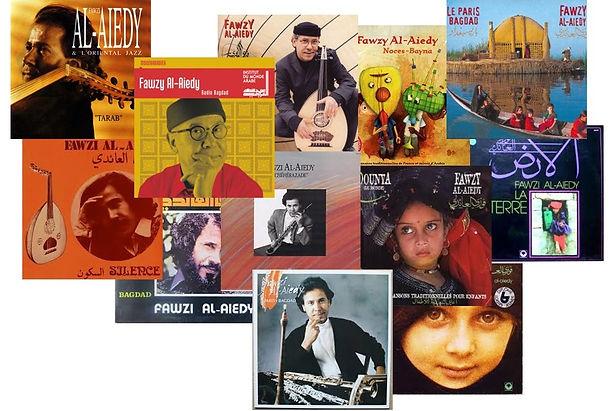 Montage photo qui regroupe un grand nombre de pochette d'album de la carrière de Fawzy.