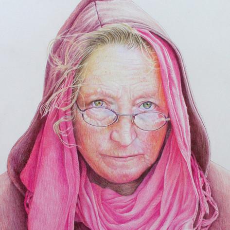 jane in coloured pencils