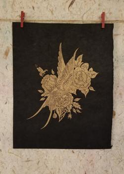 Warbler In Blooms_Black_LG