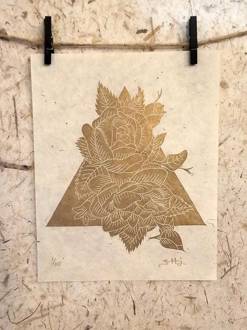 Tri-Flowers 1, Gold & Buff