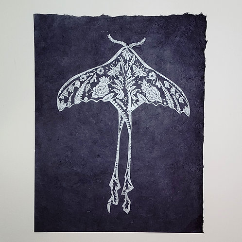 Luna Moth - Silver on Midnight