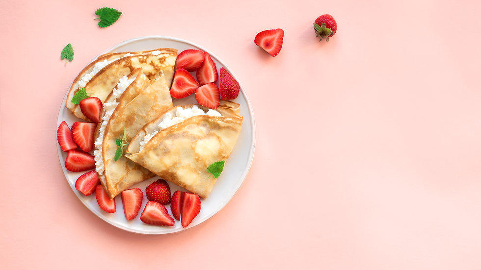 Sweet Thin Pancakes, filled with cheese, vanilla and fruits.