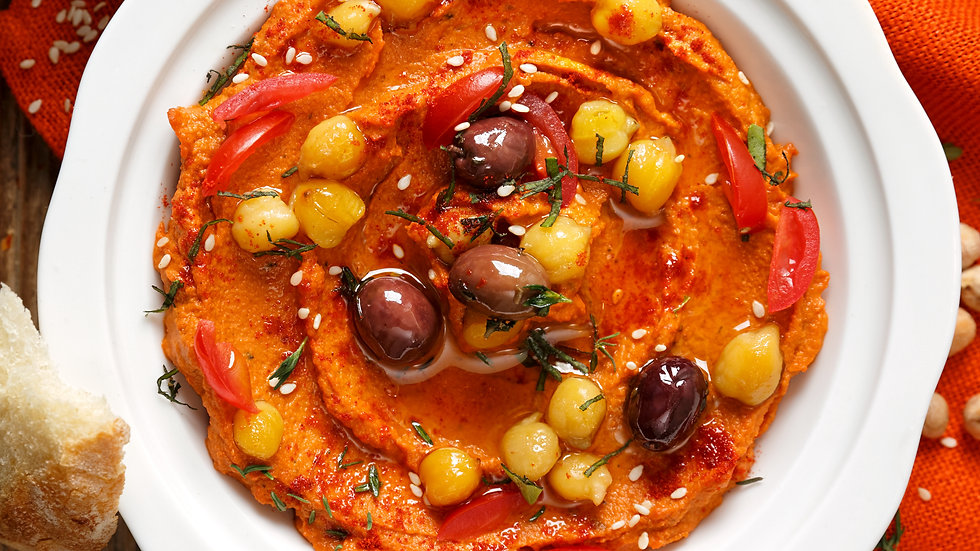 Red Pepper & Tomato Mousse with olives and chilli