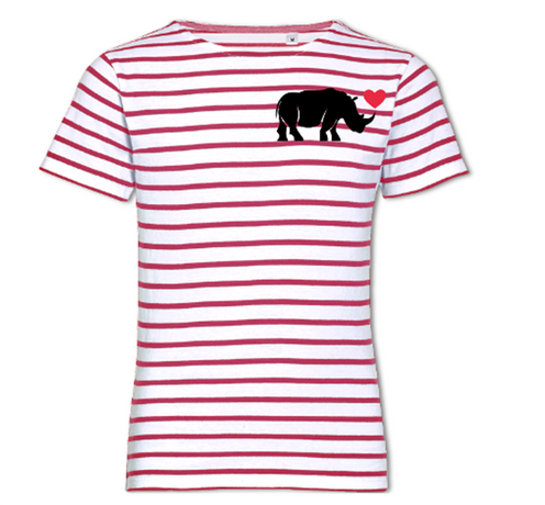 7de687258c Russell Rhino red/ white Striped tee with Russell Rhino basic design,