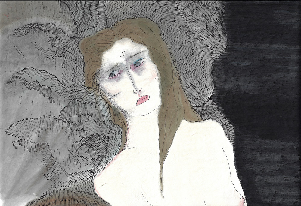 Painting  of a woman looking thoughtful, sad, and concerned--  with a black background
