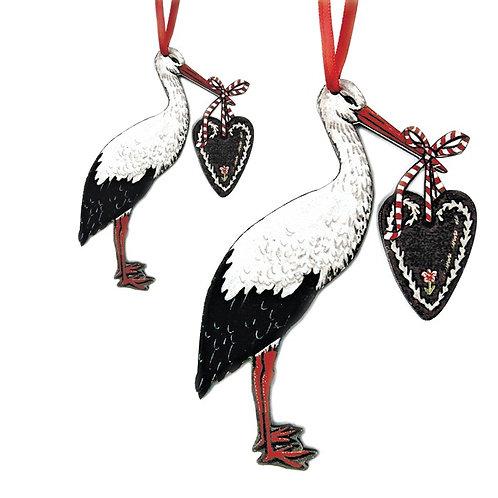 Cigogne au coeur à suspendre - 2 tailles