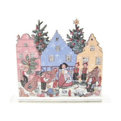 Scènette Noël villageois à poser