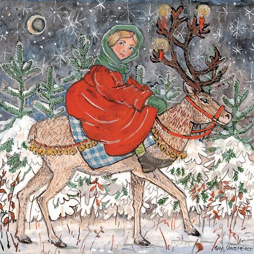 Carte Jeune fille au renne
