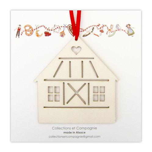 Carte & Objet maison au coeur en bois