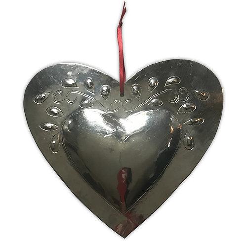 Coeur métal argenté motif feuillage