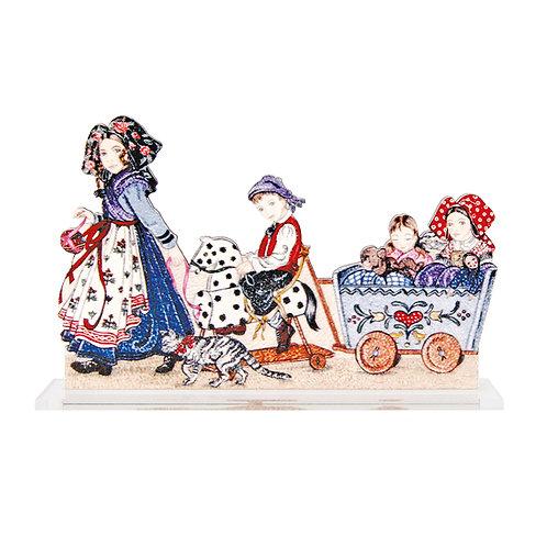 Scènette Enfants au chariot à poser