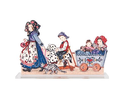 Scènette à poser Enfants au chariot