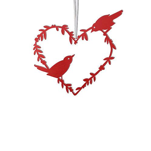 Silhouette métal Coeur oiseau à suspendre - 2 tailles et 2 coloris