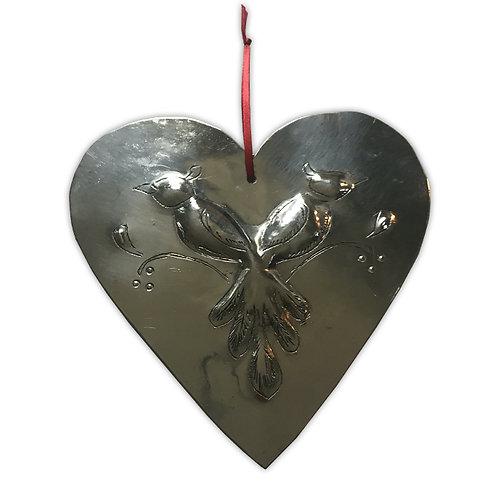 Coeur métal argenté motif oiseaux