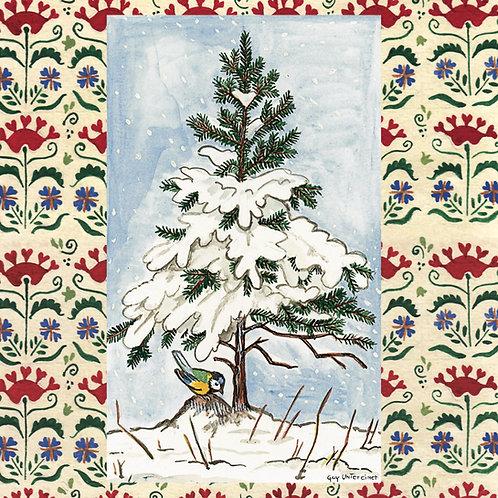 Carte Sapin oiseau