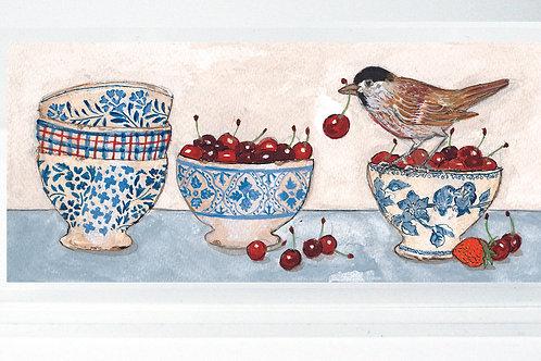 Oiseau aux bols et cerises