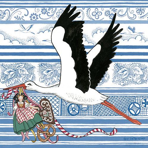 Carte Cigogne à l'alsacienne
