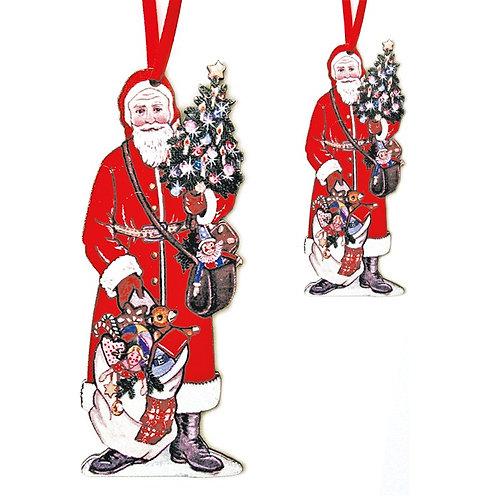 Père Noël au sapin à suspendre - 2 tailles