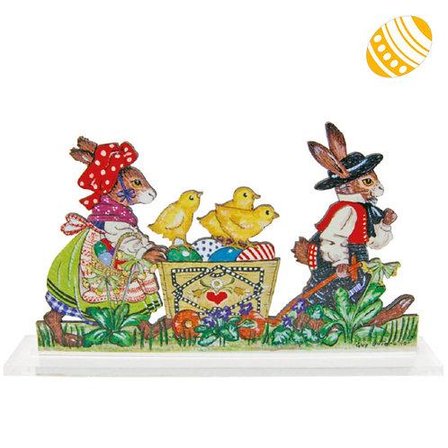 Silhouette à poser Farandole lapins et leurs 3 poussins