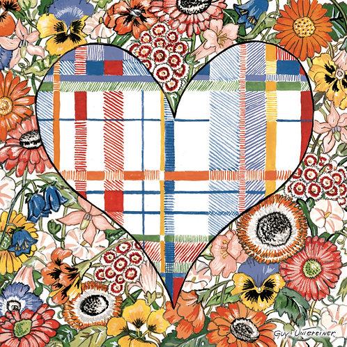 Carte Coeur carreauté