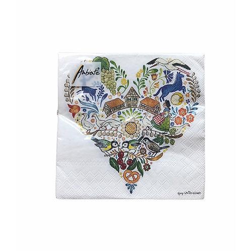 Serviettes en papier Coeur d'Alsace