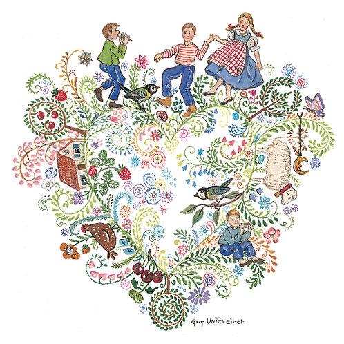 Carte Coeur fleuri