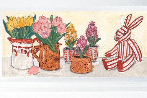Lapin rayé aux tulipes