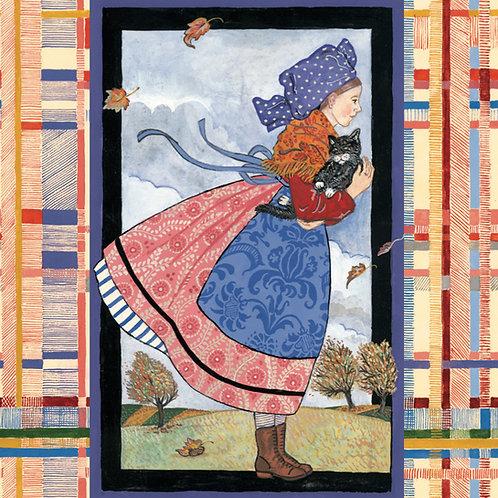 Carte Jeune fille au vent