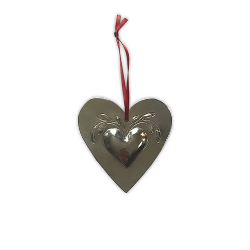 Coeur métal argenté motif fleuri
