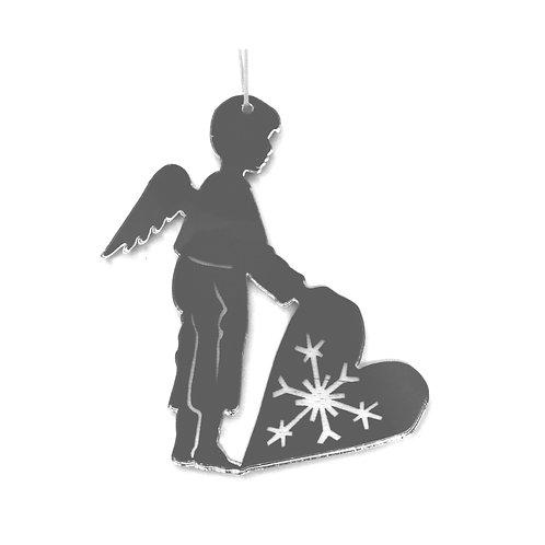Ange garçon avec effet miroir, à suspendre
