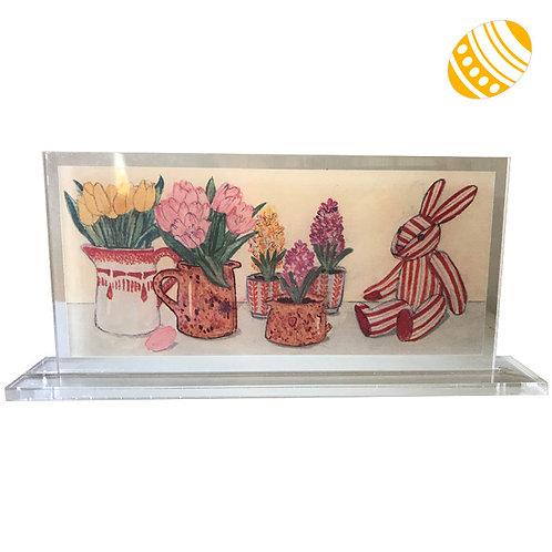 Tableau Lapin rayé aux tulipes à poser