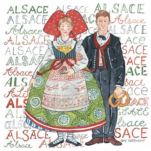 Carte Couple Alsacien