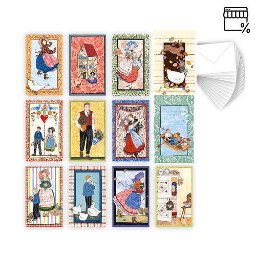 Lot de 12 Cartes Rectangulaires avec enveloppe