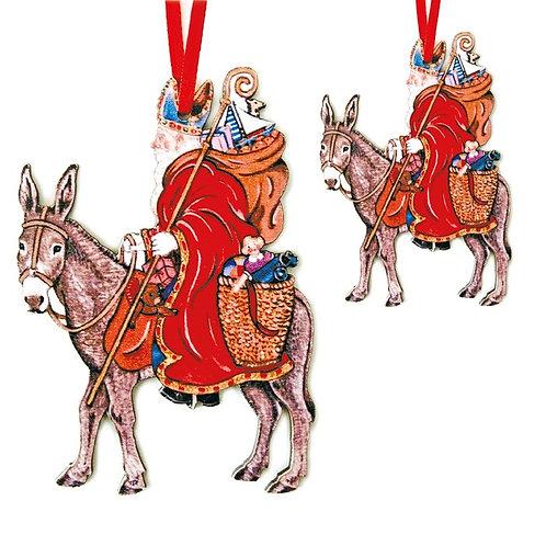 Saint Nicolas sur son âne à suspendre - 2 tailles