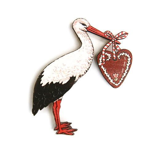 Magnet Cigogne au coeur